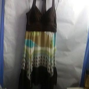 Halter summer sheer handkerchief dress